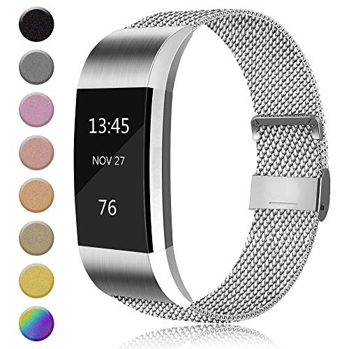AK Metal Loop Band Compatible with Fitbit Charge 2 Bands, Replacement Stainless Steel Mesh Wristband with Magnet Lock (Without Tracker) (Large, 01 Silver)