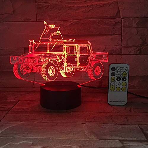 Colorful Three-Dimensional Military Truck Car 3D Table Lamp Optical Illusion Table Lamp Mood Remote Control Household Lamp|Children Lovers Birthday Party Gift
