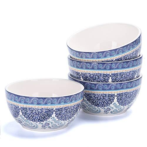 Bico Blue Talavera 765ml Ceramic Cereal Bowls Set of 4, for Pasta, Salad, Cereal, Soup & Microwave & Dishwasher Safe