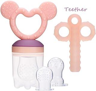 ZOSHING Comedero de bebé, Comedero de frutas, Chupete/Infantil, juguetes de dentición para bebé/juguetes de dentición y 100% silicona sin BPA rosa