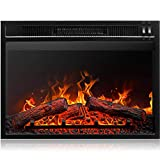 Della 23' 1400W 3D Infrared Embedded Fireplace Energy Saving Electric Insert Heater Indoor Glass View, Black