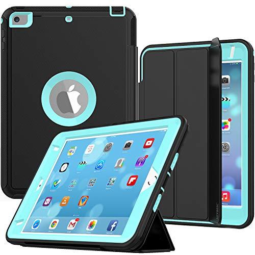 iPad Mini 4 Case, SEYMAC Three Layer Drop Protection Rugged Protective Heavy Duty iPad Mini Stand Case with Magnetic Smart Auto Wake / Sleep Cover for iPad Mini 4th/5th Generation (Black/Light Blue)