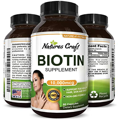 Natural And Pure Biotin For Hair Growth In Men And Women – Combat Hair Loss + Weight Loss Aid + Reduce Thinning Hair- Potent Vitamins For Hair Growth – Biotin Supplement By Huntington Labs