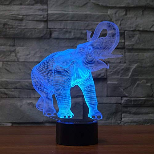 Novelty Animal 3D LED Illusion Lamp Elephant Led Night Light with 7 Colors Flashing & Touch Switch USB Powered Bedroom Desk Lamp for Kids Christmas Gifts Art and Craft
