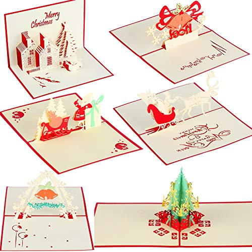 6 Pieces 3D Pop Up Christmas Cards 3D Christmas Greeting Cards Handmade Holiday Cards with Envelopes for Christmas Greeting Gift Supplies