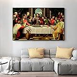 Carteles de la última cena de Leonardo Da Vinci e impresión de arte de pared lienzo pintura famosa p...