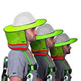 3 Pack - Sun Visor Hard Hat Sun Shield- Fitted with Ventilation Holes, Reflective Strip, Full Brim and Neck Shade Yellow