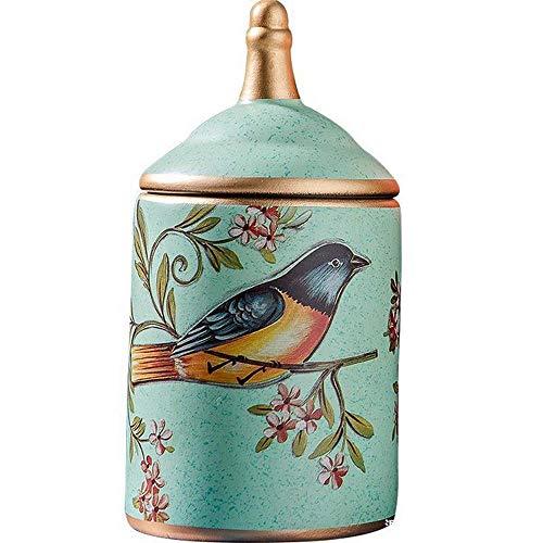 1 bote de almacenamiento de cerámica retro para cocina, azucarero pintado para té