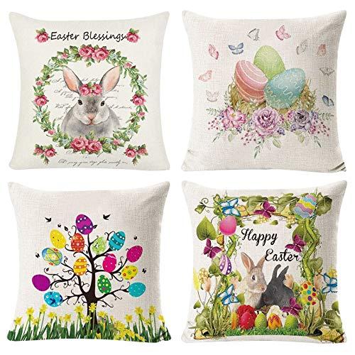 Federa per cuscino pasquale con coniglietto, uova di Pasqua, in morbido cotone e lino, per divano, ufficio, letto, vacanze, Pasqua, primavera, decorazione per la casa