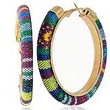 Arete para mujer pendiente Aro artesanal mexicano, grandes de colores y acero inoxidable para mujeres | Joyeria mujer para regalo bisuteria y accesorios (Chiapas)