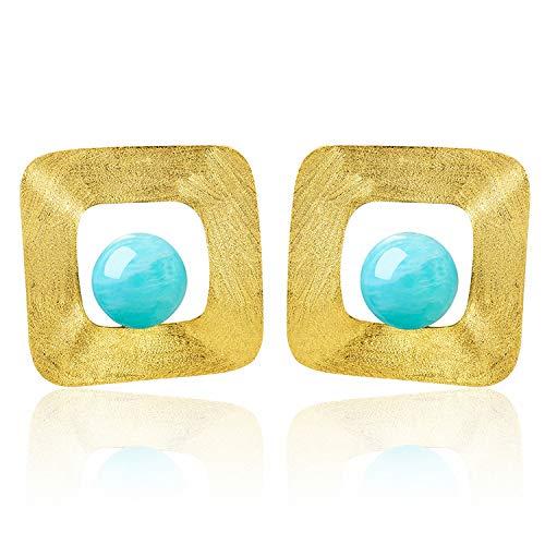 Lotus Fun Natural Stone Minimalist Style Irregular Square Dangle Earrings Genuine 925 Sterling Silver 18K Gold Handmade Fine Jewellery Gold - Amazonite