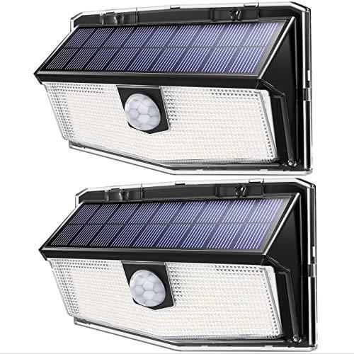 Mpow 2 Pack 300 LED Eclairage Solaire Extérieur Lampe Solaire Etanche 2200mAh 3 Modes d'éclairage Détecteur de Mouvement LED Solaire pour Jardin, Escalier, Garage, Allée, Mur