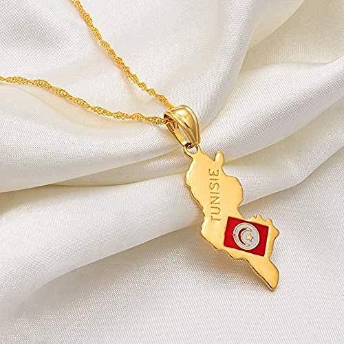NC198 Collar Tunisie Map Colgante Collar Cadenas Color Dorado Joyería Tunisienne Túnez Mujeres Chica Pedido al por Mayor Puede Descuento