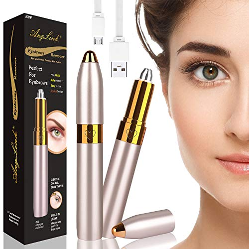 Anglink Eyebrow Hair Remover, Rechargeable Painless Portable Precision Electric Eyebrow Trimmer, Eyebrow Epilator Removal Razor Tool with LED Light for Women (Gold)