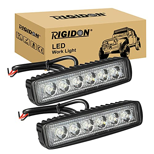 RIGIDON 2 Pcs Mini foco led, 6 pulgadas 18W, Spot lámpara trabajo led para off road camión coche ATV SUV 4x4 Tractor, Faros trabajo led 12v 24v Spotlights faros antiniebla,6000K Blanco