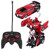 Caredy RC Auto deformabile, Scala 1/18 Telecomando trasformatore a Una Chiave Robot deformazione Modello di Auto Giocattolo con luci Migliori Giocattoli(Rosso)