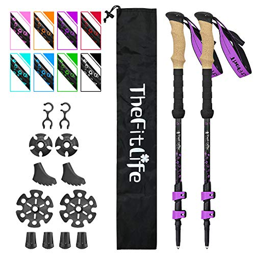 TheFitLife Carbon Fiber Trekking Poles – Collapsible and Telescopic Walking Sticks with Natural Cork Handle and Extended EVA Grips, Ultralight Nordic Hiking Poles for Backpacking Camping (Purple)