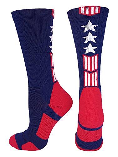 MadSportsStuff Patriot Stars and Stripes Team USA American Flag Crew Socks (Navy/Red/White, Small)