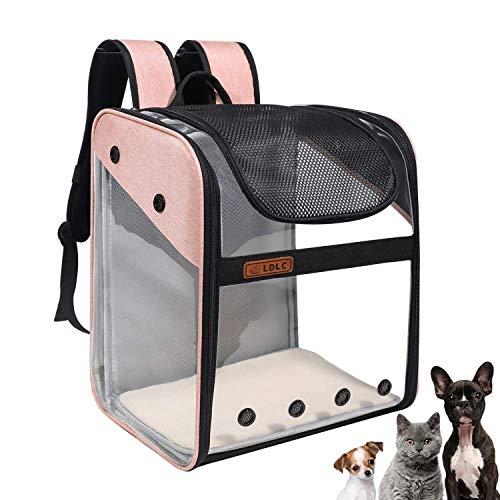 WEECOC Bolsa de transporte para mascotas mochila de transporte jaula para gato perro jaula portátil para mascotas bolsa de transporte con estructura de alambre transparente plegable espaciosa (rosa)