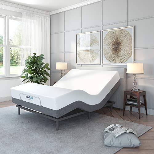 Classic Brands Adjustable Comfort Upholstered Adjustable Bed Base with Massage, Wireless...
