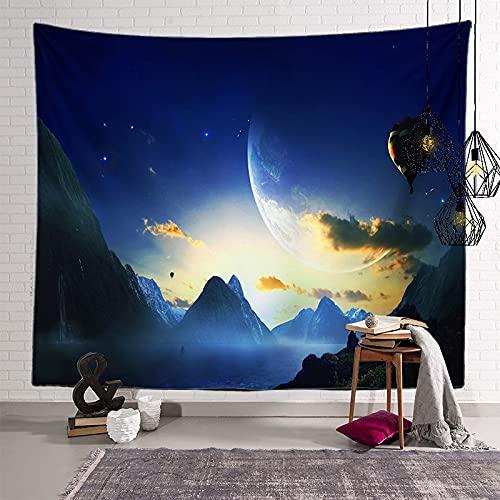 KHKJ Astronauta Pianeta Arazzo Testiera Wall Art Copriletto Dormitorio Arazzo per Soggiorno Camera...