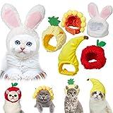 Weewooday 5 Cappelli per Animali Domestici Simpatici Cappello di Coniglio per Gatti Cani con Orecchie Cappello di Banana Girasole Mela Ananas Accessori per Costumi di Festa Copricapo per Gatto
