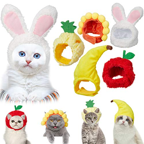 5 Pieces Cute Pet Hat Cat Dog Bunny Hat with Rabbit Ears Banana Sunflower Fruit Apple Pineapple Cap Party Costume Accessories Headwear for Cat Kitten Puppy Pet, Animal-Safe Materials and Adjustable
