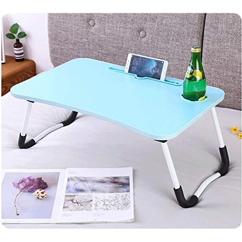 Dsrgwe Laptop Bed Table Foldable Lap Desk Notebook Stand with Cup Slot and Card Slot Breakfast Bed Tray Book Holder 60 * 40 * 28cm (Color : Blue)