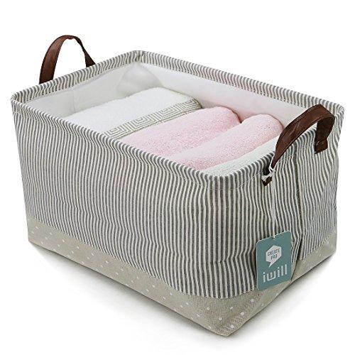 iwill CREATE PRO Cesto portaoggetti Pieghevole in Tessuto di Cotone per Ripiani, cubi portaoggetti, cestini portaoggetti per Mobile, Beige