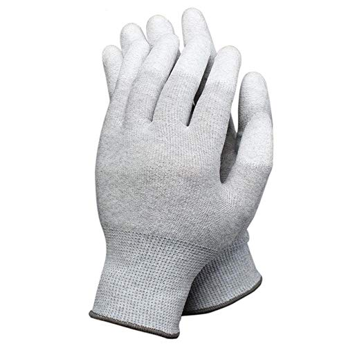 1 par de guantes antiestáticos para ordenador electrónico, ESD, guantes de trabajo grandes antideslizantes con revestimiento de poliuretano para protección de los dedos