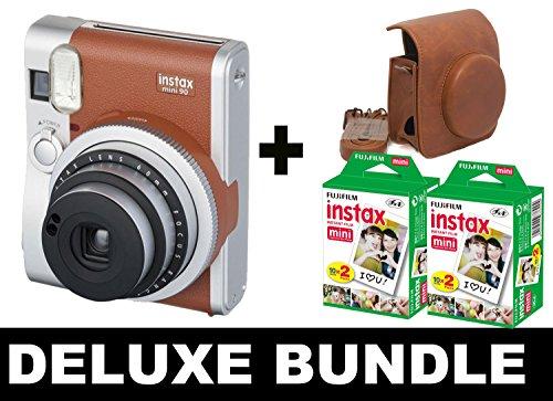 Fujifilm Instax Mini 90 NEO, Braun + 40 Aufnahmen + Vintage Brown Case