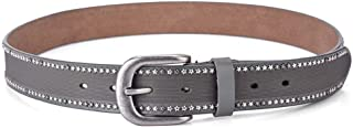 MYCHOMEUU New Women's Rivet Belt Fashion Wild Leather Thin Belt Men's Casual Sports Women's Pants Belt Tide (Color : Grey, Size : 110cm)
