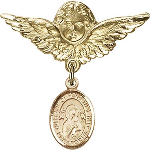 Oro Llena Baby Insignia Con Nuestro Lady de Perpetual Ayuda Encanto y alas de ángel w/Insignia Pin…