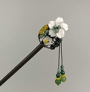 Original Handmade Wood Classical Hair Clasp Shell Jade Decor Chinese Traditional Style Hair Sticks Shawl Pins Picks Hair Sticks, Hairpin (L : 19.00 cm) (15 g) (Length: 19 cm)