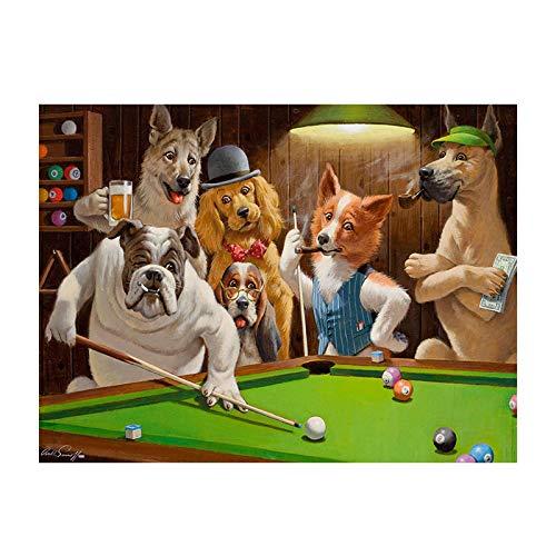 zxianc Leinwand Wandkunst Hunde Party Billard Spiel Tiere Leinwand Malerei Kunst Poster und Drucke Wandbilder für Kinder Schlafzimmer Home Decora 70x100cm / 27,5