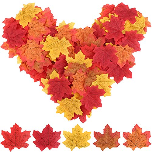 Vegena 200 Stück Künstliche Herbst Ahornblätter Ahorn Laub Herbstlaub Blätter Herbstdekoration Tischdeko für Halloween Thanksgiving Day Unterlage Wandbild Türschild Party Hochzeit Weihnachten