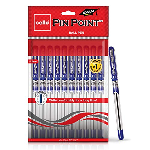 Cello Pinpoint Ball Pen (Pack of 10 pens - Blue) | Lightweight ball pens for pressure free & fine writing | Exam pens with grip