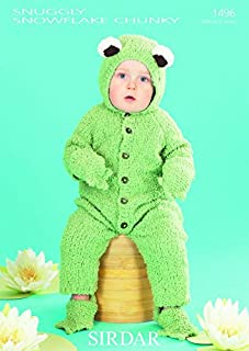 Sirdar Baby Frog All in One, Booties & Mittens Snowflake Knitting Pattern 1496 Chunky