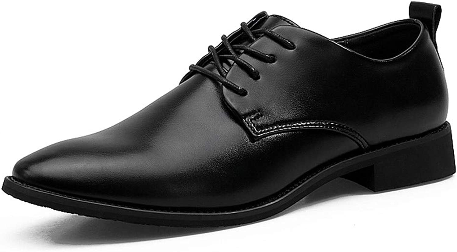 SCSY-Oxford shoes Men's Simple Business Oxford Casual Soft Leather Pointed Lace Classic Fashion Formal shoes