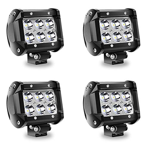 TURBO SII 4Pcs 4Inch 18W LED Pods Work Light Spot Beam Super Bright Offroad Driving Fog Lights Waterproof IP67 LED Cubes for Truck Boat ATV UTV 12-24V