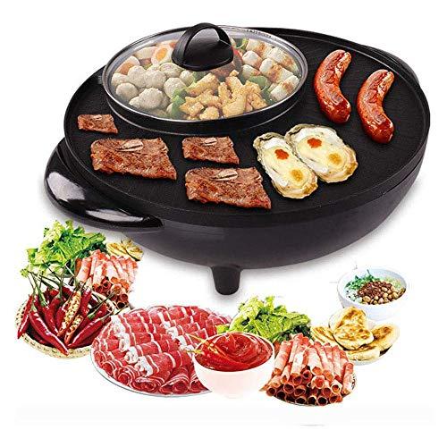 JINMOQI Tischgrill Elektrisch Hot Pot Koreanischer Grilltopf elektrischer Kochtopf elektrische Backform Antihaftpfanne Kochtopf schwarz 34cm