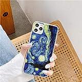 Funda para iPhone 11 con impresión Vincent Van Gogh, arte de noche estrellada, bonita funda para iPhone con diseño de moda vintage, funda protectora resistente a arañazos y golpes, de TPU