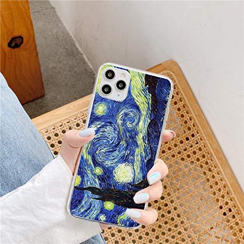 Cover per iPhone 12 Pro Max con stampa Vincent Van Gogh, arte di notte stellata, carina e graziosa, con motivo alla moda, vintage, design Van Gogh, resistente ai graffi e agli urti