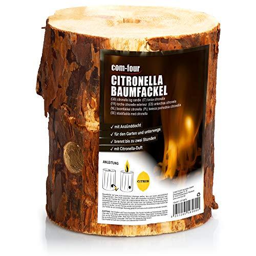 com-four® Fuego Sueco para alejar a los Mosquitos e Insectos, antorcha Anti Mosquitos con Mecha de Encendido