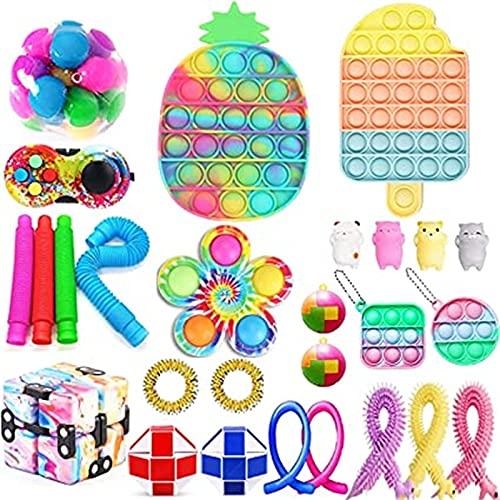 Fidget Toy Pack, Juguetes Sensoriales Fidget para El Alivio De La Ansiedad para Niños y Adultos Set, De Juguetes Sensoriales Fidget para Regalo de Cumpleaños, Relleno de Bolsas de Caramelos