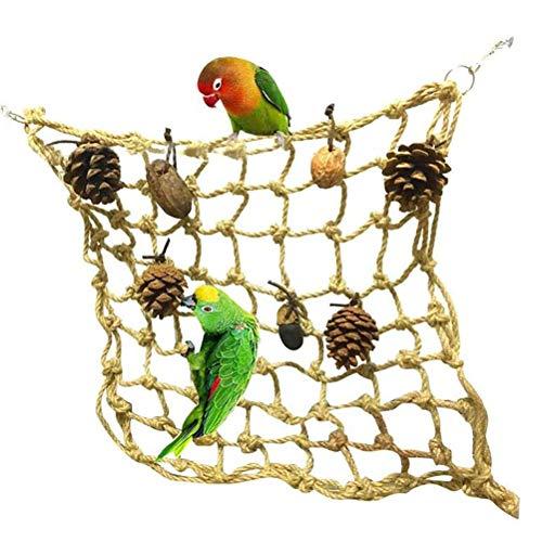 Katyma Loro Red de Escalada pájaro Juguete pájaro Loro Columpio Juguete Cuerda de cáñamo pájaros Hamaca con Tuerca Juguete pájaros Mecedora Red