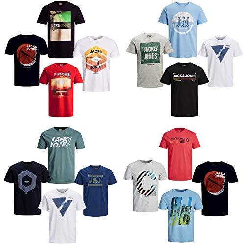 JACK & JONES Herren T-Shirt 4er Pack Rundhals O-Neck Tee Shirt S,M,L,XL,XXL NEU (L, 4er Paket #1)