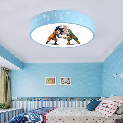 Plafón Led De Techo Niñas Niños Dormitorio,Lámpara De Techo Regulable Para Habitación Infantil,Estilo Dos Azul 40Cm Tricolor Light Lámpara De Dibujos Animados De Arte De Personalidad