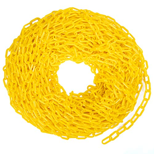 100-foot Plastic Safety Chain Barrier - High-Visibility Lightweight Yellow Barricade for Construction Zone, Temporary Hazard Area, Warehouse Businesses, Loading Docks, Crowd Control, & Decoration
