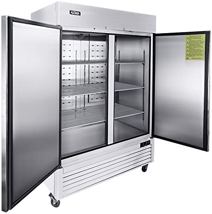 54 Two Section Solid Door Reach in Commercial Refrigerator KITMA 49 cu ft Side by Side Stainless product image